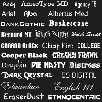 Fonts A-E