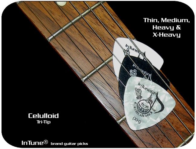 InTune Brand Guitar Picks Celluloid Tri-Tip Custom Guitar Picks