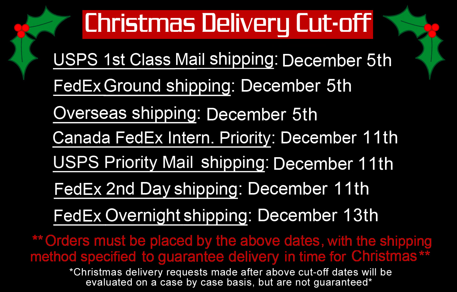 Christmas Guitar Pick Delivery Schedule