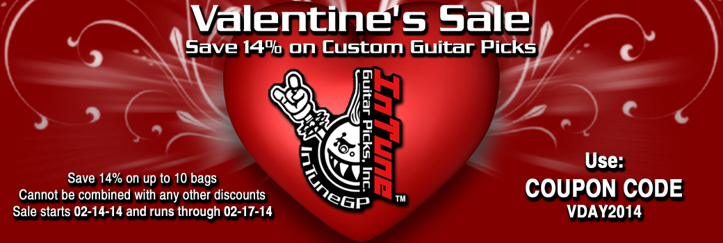 Custom Guitar Picks sale for Valentine's Day