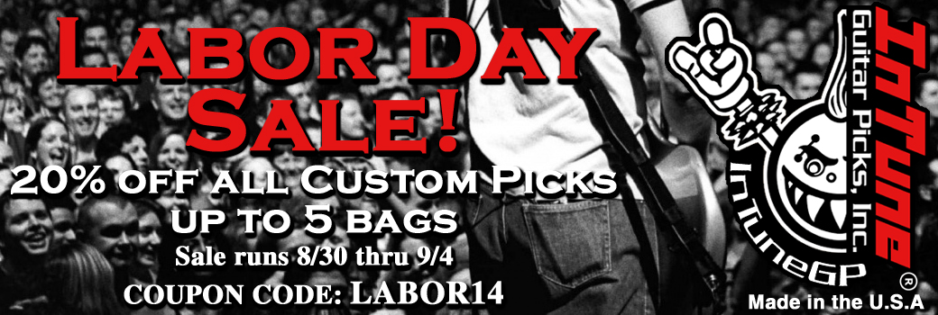Labor Day Personalized Guitar Pick Sale